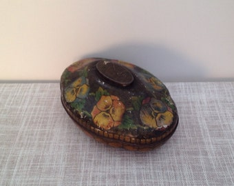Antique Edwardian Rowntrees sweet tin pansy themed bowl converter  York, England, Collectable Tin