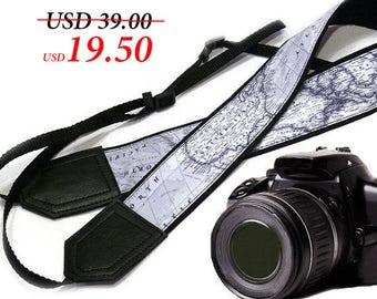 World Map Camera Strap. Camera accessories. Photographer gift by InTePro