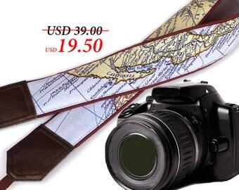 Map camera strap. Brown camera strap DSLR. California Map crossbody Camera Strap. Handmade straps by InTePro