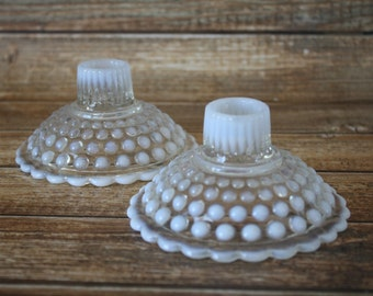 Anchor Hocking Moonstone Opalescent Hobnail Candle Holders - Set of 2