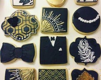 1 dozen art deco 20s theme cookies!