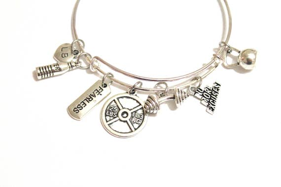 Weightlifting Expandable Charm Bracelet; Strong Woman Jewelry, Fearless, No More Excuses, Exercise Jewelry, Gift For Her, Exercise Gift