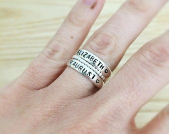 sterling silver rings stacked rings beaded silver ring day gift hand