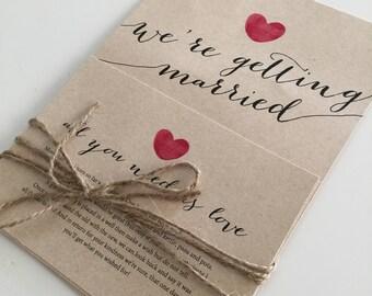 Custom Printable Wedding Invitation Set - Calligraphy Heart Design