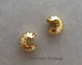 50 4mm gold plated corrugated crimp bead covers