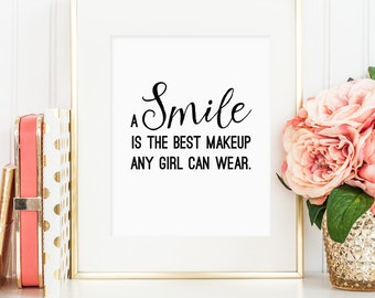 A smile is the best makeup any girl can wear, Marilyn Monroe quote, printable wall art decor, bedroom decor, digital JPG