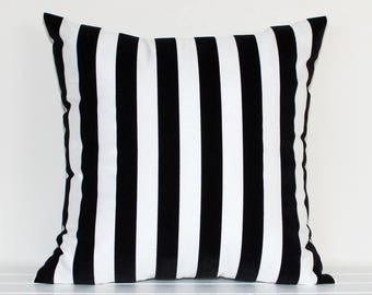 Black and White Flocked Stripe Cushion Cover