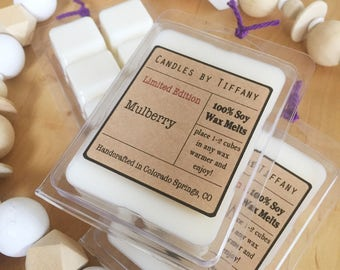 MULBERRY Soy Wax Melts, Hand Poured Wax Melts, Soy Wax Tarts, Clamshell Melts, Eco Friendly, Home Fragrance, Fruit Scents, Fruity Scents