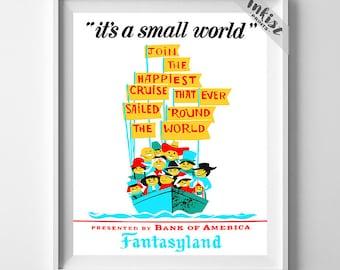 It's a Small World, 4th of Julys, Disneyland, Disneyworld, Disneyland Print, Nursery Decor, Fantasyland, Home Decor, Wall Art, PRINT