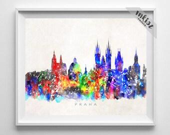 Praha Skyline, Print, Czech Republic Wall Art, Prague Poster, Prague Wall Decor, Cityscape, City Skyline, Giclee Art, 4th of July