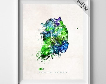 South Korea Map Print, Seoul Print, Korea Map, Watercolor Painting, Map Poster, Wall Decor, Travel Poster, Home Decor, Christmas Gift