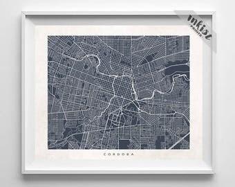 Cordoba Map, Argentina Print, Argentina Poster, Cordoba, Map Art, Baby Shower Gift, Home Goods, Anniversary Gift, Christmas Gift