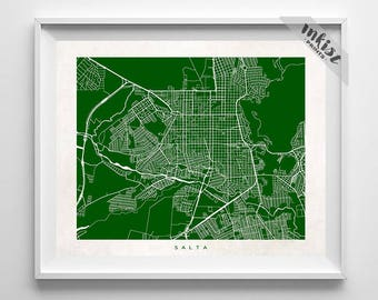 Salta Map, Argentina Print, Salta Poster, Argentina Art, Decor Idea, Home Town, Giclee Print, Nursery Wall Decor, Christmas Gift