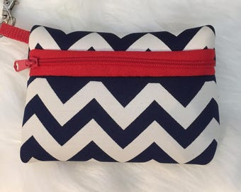 Monogrammed Neoprene Zippered Pouch -  Id Case - Change Purse - Blue and Orange - Game Day Accessory Pouch - Key Chain Id Case