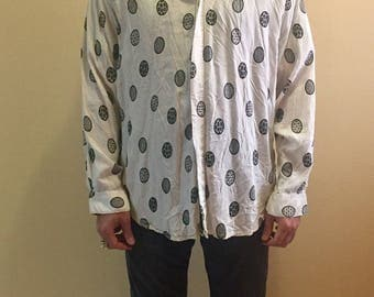 Vintage long sleeve  EGG print shirt // mens size S