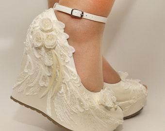 Ivory Wedges ,Wedding Wedge , Wedges, Bridal Wedges,Bridal Shoes, Bridal Platform Wedges, Bridal Ivory Wedges, Ivory Wedding Shoes