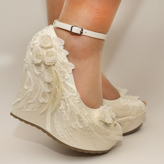 white wedding shoes ivory wedges wedding wedge wedges bridal wedgesbridal 1368