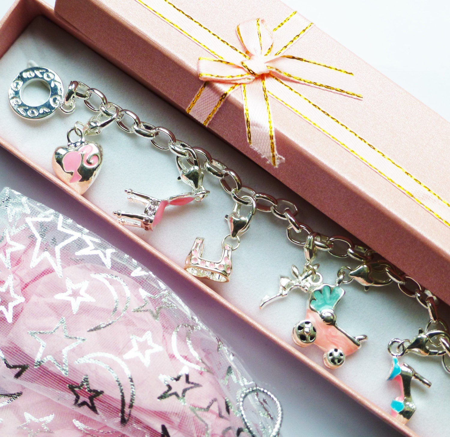 Baby Carriage Love Charms Silver Bracelet