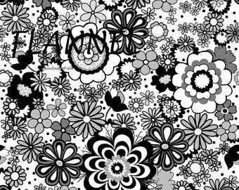 Black & White Floral Flannel Fabric, Riley Blake Parisian F4630 White, Flower Flannel Quilt Fabric,  Cotton Flannel Yardage