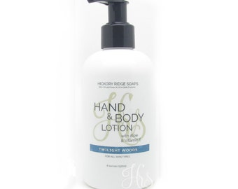 Twilight Woods Hand & Body Lotion Moisturizer Cream with Aloe and Vitamin E - Natural Lotion, Body Lotion, Hand Cream