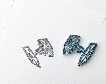 Tie fighter stamp. Star wars stamp. Star wars. Tie fighter. Star wars tie fighter. rubber stamp. handmade. handcarved stamp. mounted