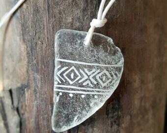 "Sea Diamond ""Karibic"" | sea glass pendant; ca. 3,8 x2,8 cm"