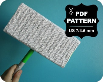 English-French Two Needle KNITTING PATTERN / Digital Download / #24 / Washable Mop Pad, Reusable Sweeper, Cover, Green Living / US7 / 4.5mm