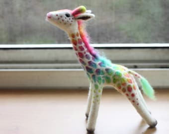 Wool Felted Rainbow Giraffe  Hand dyed color One of a kind OOAK