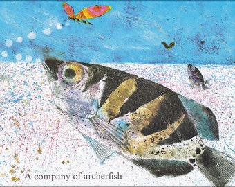 Archerfish trout fish animal colourful 60's mid century vintage children's illustration retro nursery decor Brian Wildsmith 8.5x11 inches