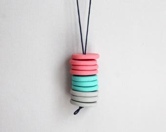 Summer Clay Necklace - Colourful Polymer Clay Jewelry - Gift for Summer Lover - Minimalist Jewelry - Fimo Jewelry - Pendant Necklace