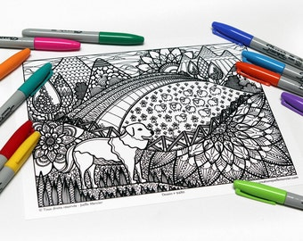 Mandala coloring, drawing #9480 printed on cardboard, coloring of relaxation, dog, Pyreneees and landscape
