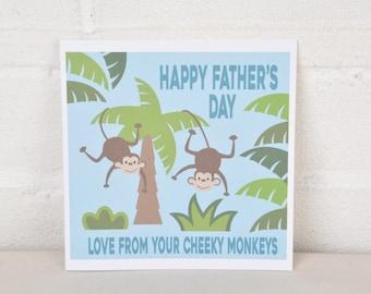 Father's Day Card, Cheeky Monkeys Card, Cute Father's Day Card, Card for Daddy, Card for Dad, Monkey Card