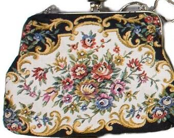Vintage 1940s Tapestry Floral Purse/Bag