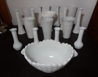 Vintage White Milk Glass Vase Collection - Set of 18 - Wedding/Shower Decor - Various Shapes and Sizes & Heirloom Fenton