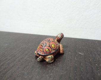 Vintage Miniature Hand Painted Clay Pottery Turtle Figurine