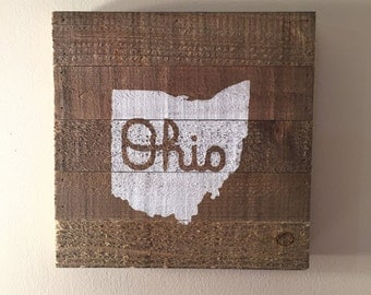 Hand Painted Script Ohio State Pallet Sign - 10x10