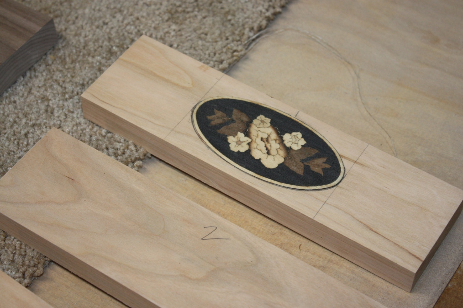 Inlay Flower Medallion in Drawer Front