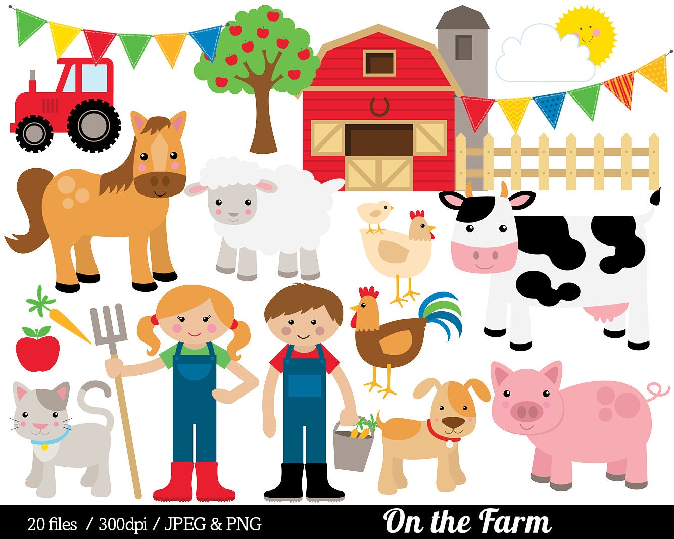 Farm Animal Clipart Farmyard Clip Art Barn Farmer Horse Cow