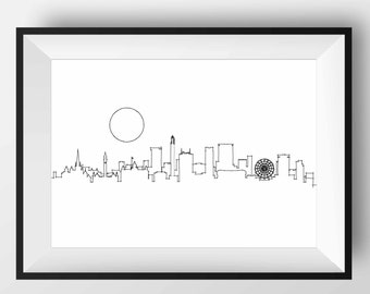 Birmingham Skyline, Birmingham art, Birmingham print, Birmingham poster, Birmingham gift, Birmingham England, Birmingham sketch, Birmingham