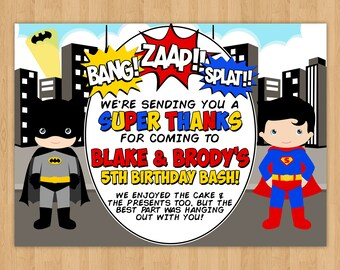 Batman and Superman 'Thank You' Card