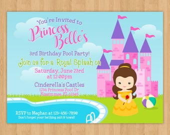 Princess Belle Pool Party Birthday Invitation