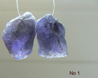 Tanzanite gemstone rough beads for earrings - size 13-14x10mm beads- 2 beads -Jewelry beads supply- Raw tanzanite gemstone