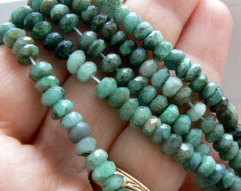 Emerald Shaded faceted rondelle beads. 6mm beads. Strand 4in. Semiprecious beads-Jewelry beads supply