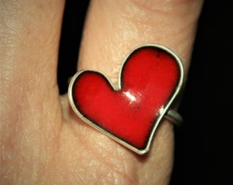 Sterling Silver Heart Ring Red Enamel FREE SHIPPING Silver Statement Ring