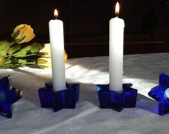 Cobalt blue glass six-sided star candle holders, set of four (4)
