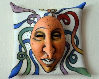 mask - ceramic mask - wall decor - sculpture - art - ceramic art - face - ceramic