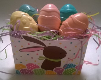 Colorful EASTER BASKET of 6 Egg SOAPS 100% Natural  Guest Soaps Gift Decorative, Soaps Homemade, Floral Soaps Customize: Scents and Color