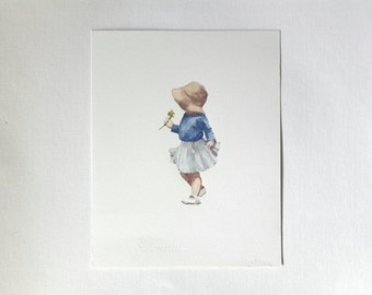 original watercolor painting, figure painting, little girl, aquarel art, small watercolor, illustration