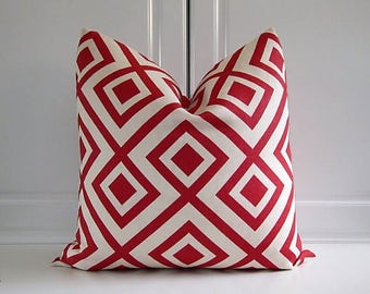 Groundworks Decorative Pillow Cover-Red Geometric- Geometric-Last One!18x18,20x20
