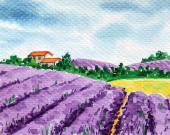 SALE!ACEO Original Watercolor Painting-Landscape Lavender Field and Cottage in Provence/France